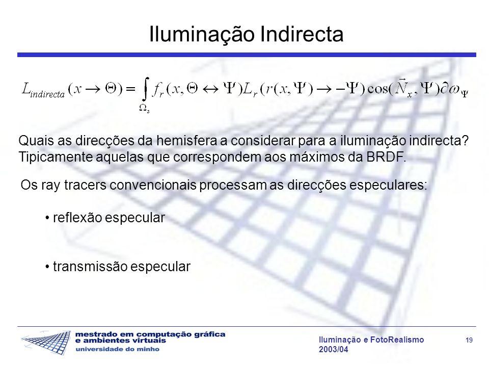 Iluminação e FotoRealismo 19 2003/04 Iluminação Indirecta Quais as direcções da hemisfera a considerar para a iluminação indirecta? Tipicamente aquela