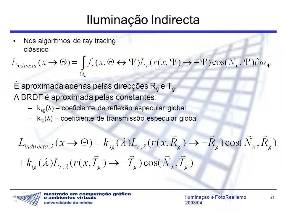 Iluminação e FotoRealismo 21 2003/04 Iluminação Indirecta Nos algoritmos de ray tracing clássico É aproximada apenas pelas direcções R g e T g. A BRDF