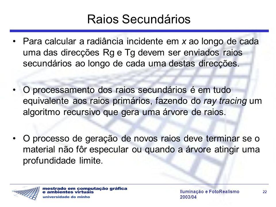 Iluminação e FotoRealismo 22 2003/04 Raios Secundários Para calcular a radiância incidente em x ao longo de cada uma das direcções Rg e Tg devem ser e