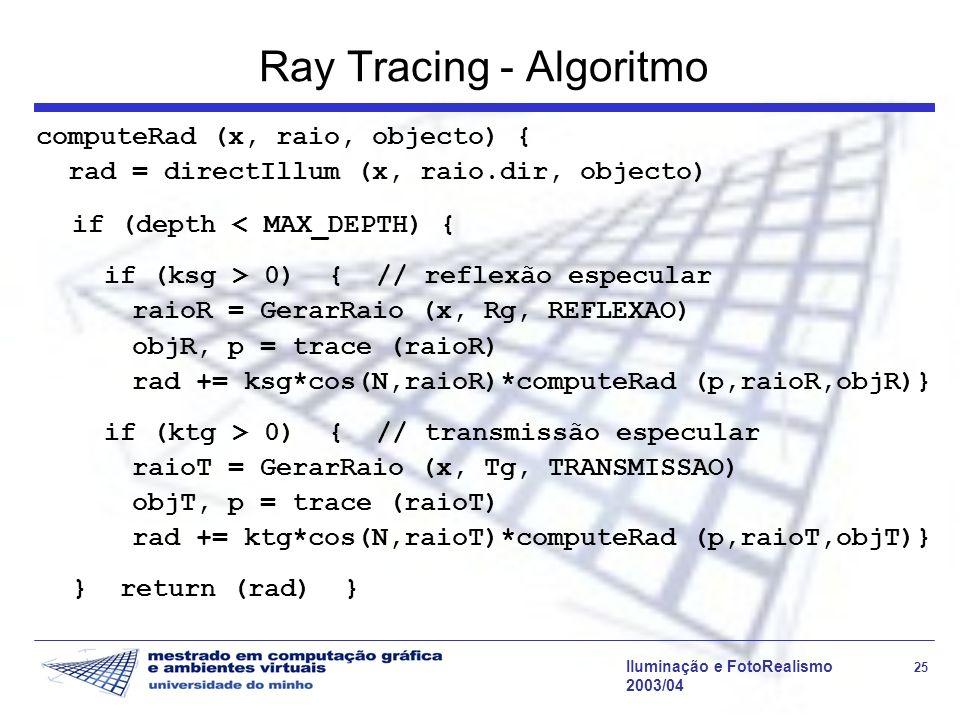 Iluminação e FotoRealismo 25 2003/04 Ray Tracing - Algoritmo computeRad (x, raio, objecto) { rad = directIllum (x, raio.dir, objecto) if (depth < MAX_