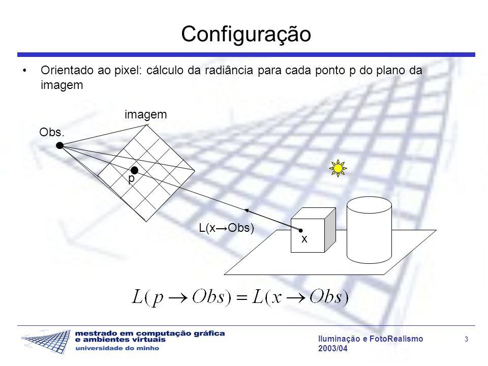 Iluminação e FotoRealismo 4 2003/04 Ray Tracing - Algoritmo // ciclo principal computeImage (viewPoint) { para cada pixel p { raio = GerarRaio (viewPoint, p, PRIMARIO) radiance[p] = rad (raio) } rad (raio) { objecto, x = trace (raio) computeRad (x, raio, objecto) }