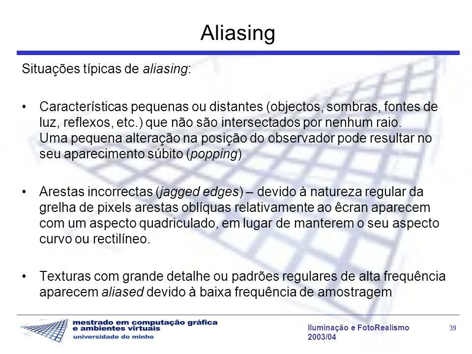 Iluminação e FotoRealismo 39 2003/04 Aliasing Situações típicas de aliasing: Características pequenas ou distantes (objectos, sombras, fontes de luz,