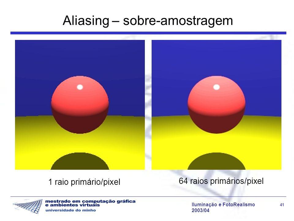 Iluminação e FotoRealismo 41 2003/04 Aliasing – sobre-amostragem 1 raio primário/pixel 64 raios primários/pixel