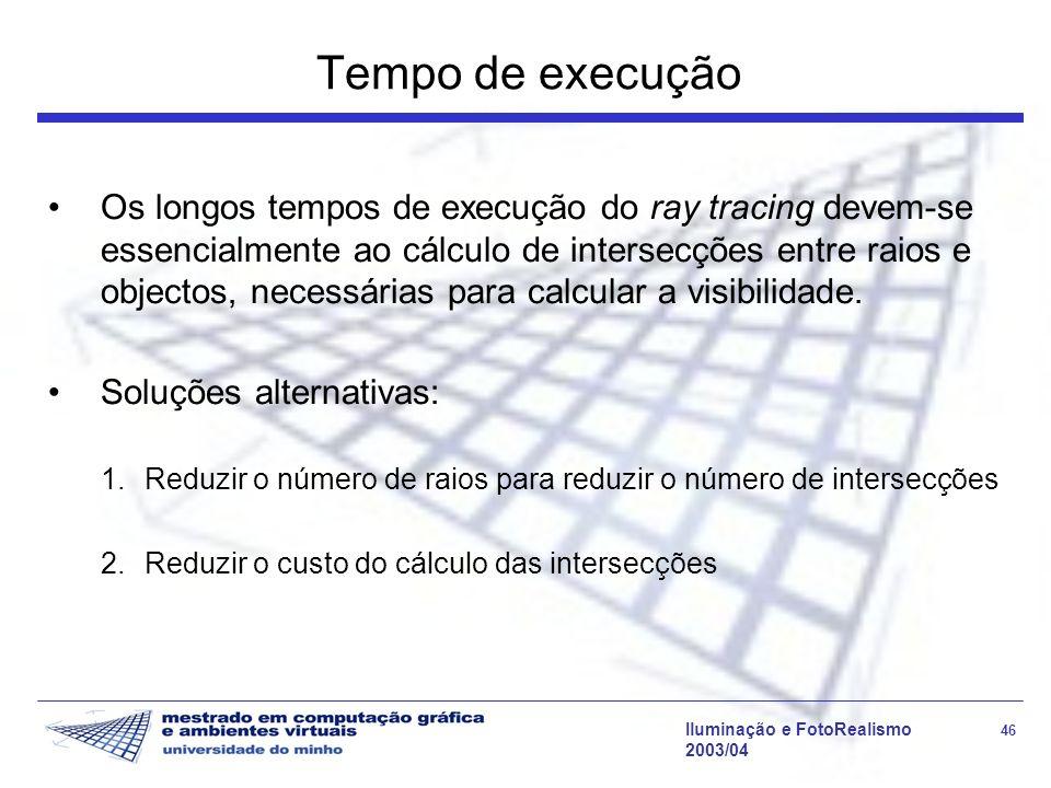 Iluminação e FotoRealismo 46 2003/04 Tempo de execução Os longos tempos de execução do ray tracing devem-se essencialmente ao cálculo de intersecções