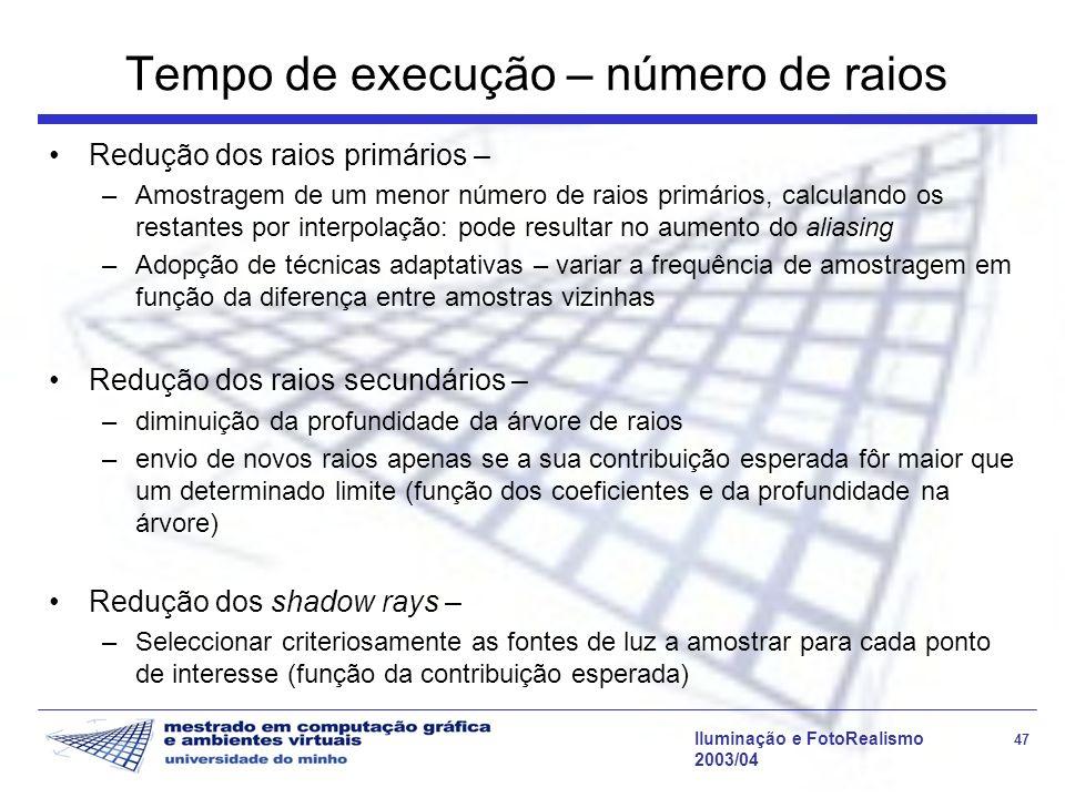 Iluminação e FotoRealismo 47 2003/04 Tempo de execução – número de raios Redução dos raios primários – –Amostragem de um menor número de raios primári