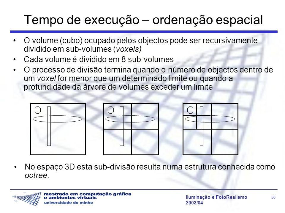 Iluminação e FotoRealismo 50 2003/04 Tempo de execução – ordenação espacial O volume (cubo) ocupado pelos objectos pode ser recursivamente dividido em