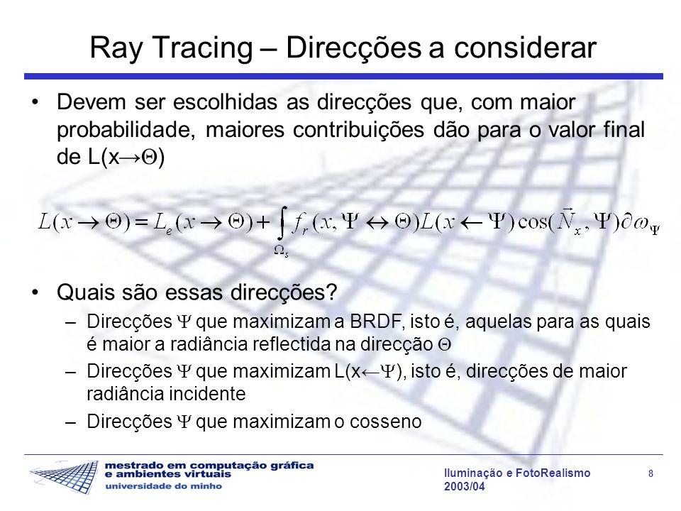 Iluminação e FotoRealismo 39 2003/04 Aliasing Situações típicas de aliasing: Características pequenas ou distantes (objectos, sombras, fontes de luz, reflexos, etc.) que não são intersectados por nenhum raio.