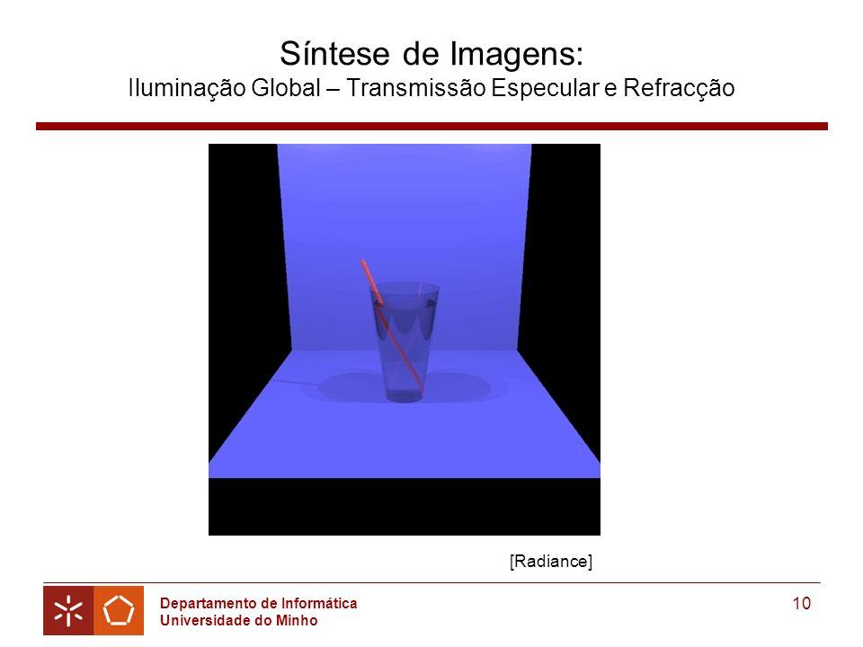 Departamento de Informática Universidade do Minho 10 Síntese de Imagens: Iluminação Global – Transmissão Especular e Refracção [Radiance]