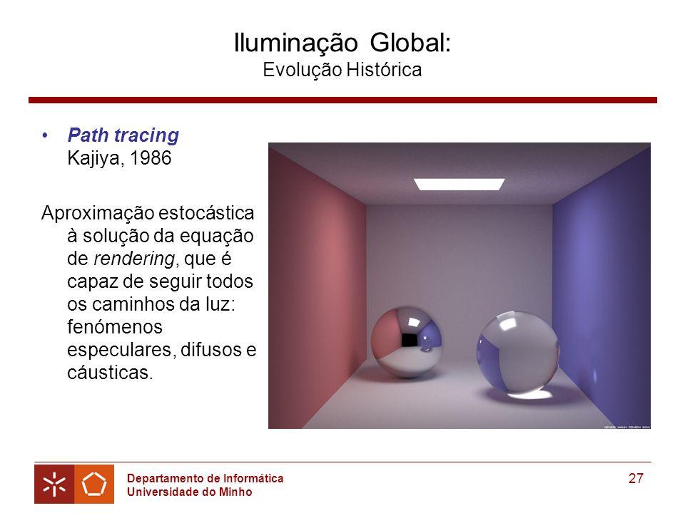 Departamento de Informática Universidade do Minho 27 Iluminação Global: Evolução Histórica Path tracing Kajiya, 1986 Aproximação estocástica à solução da equação de rendering, que é capaz de seguir todos os caminhos da luz: fenómenos especulares, difusos e cáusticas.
