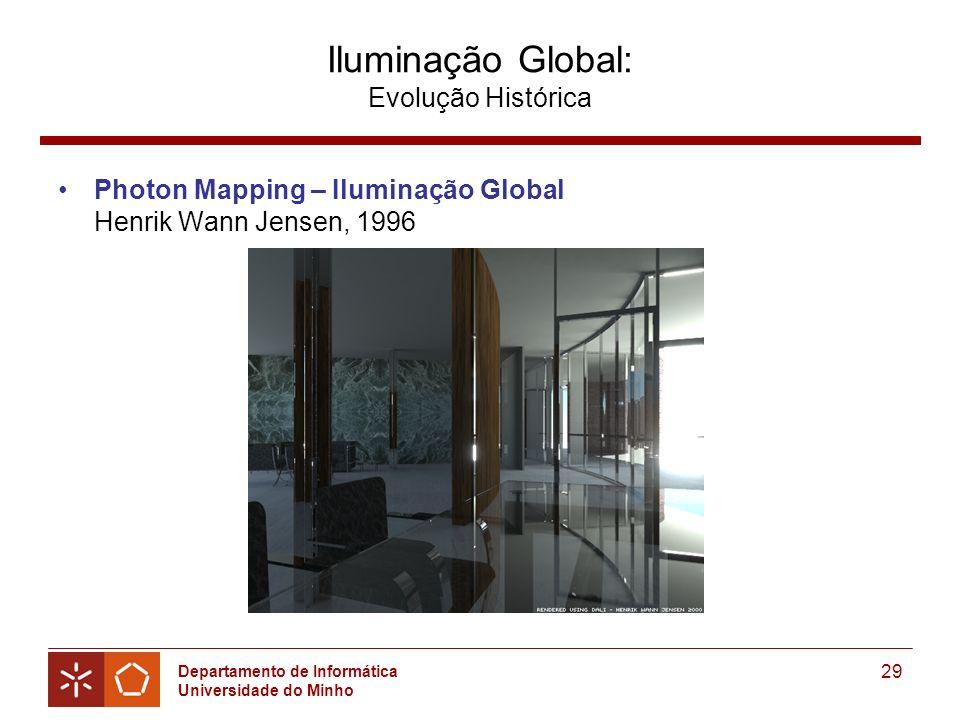 Departamento de Informática Universidade do Minho 29 Iluminação Global: Evolução Histórica Photon Mapping – Iluminação Global Henrik Wann Jensen, 1996