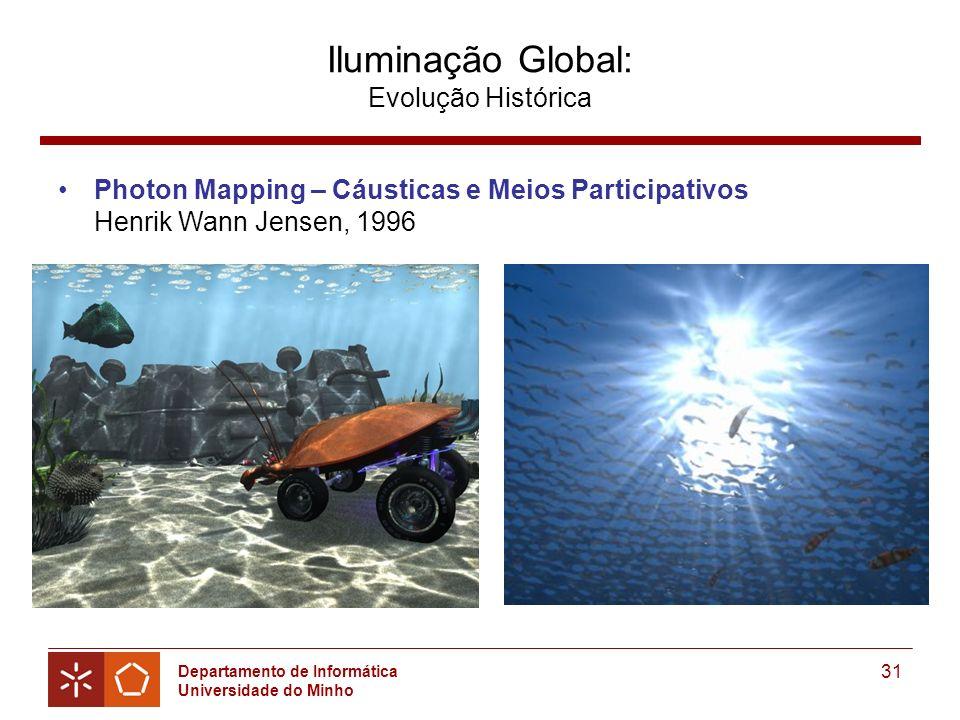 Departamento de Informática Universidade do Minho 31 Iluminação Global: Evolução Histórica Photon Mapping – Cáusticas e Meios Participativos Henrik Wann Jensen, 1996