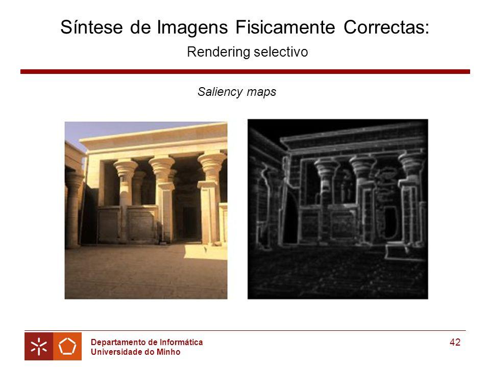Departamento de Informática Universidade do Minho 42 Síntese de Imagens Fisicamente Correctas: Rendering selectivo Saliency maps