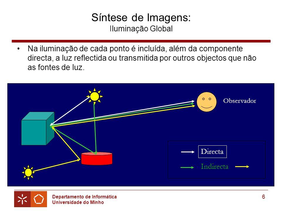 Departamento de Informática Universidade do Minho 6 Síntese de Imagens: Iluminação Global Na iluminação de cada ponto é incluída, além da componente directa, a luz reflectida ou transmitida por outros objectos que não as fontes de luz.