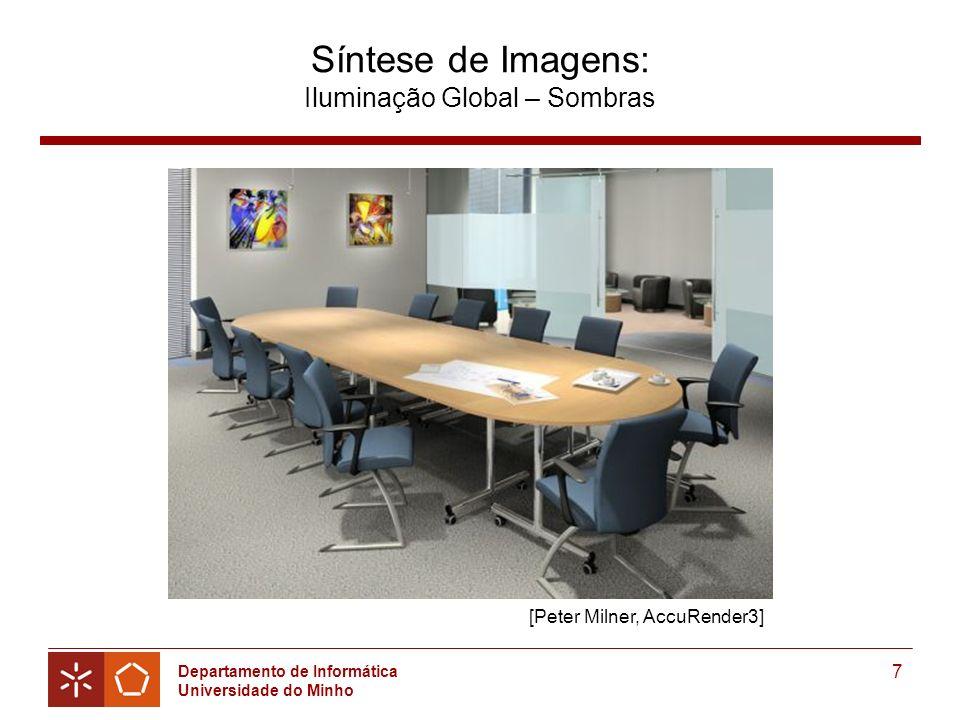 Departamento de Informática Universidade do Minho 7 Síntese de Imagens: Iluminação Global – Sombras [Peter Milner, AccuRender3]