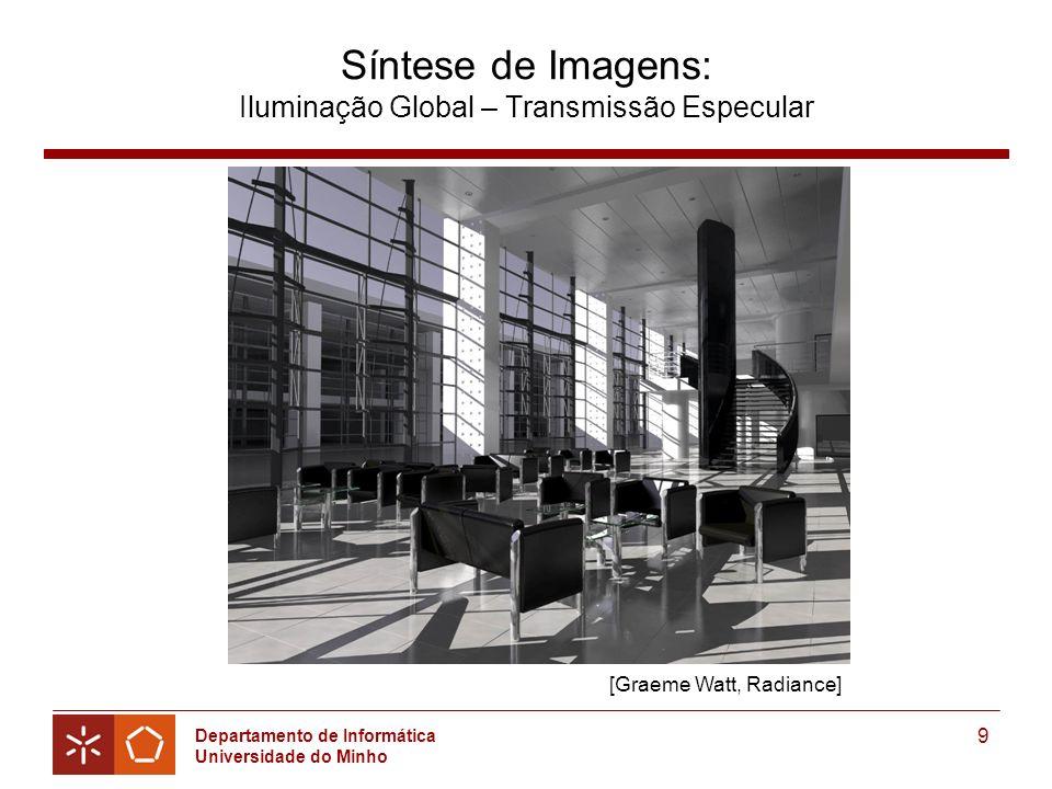 Departamento de Informática Universidade do Minho 9 Síntese de Imagens: Iluminação Global – Transmissão Especular [Graeme Watt, Radiance]