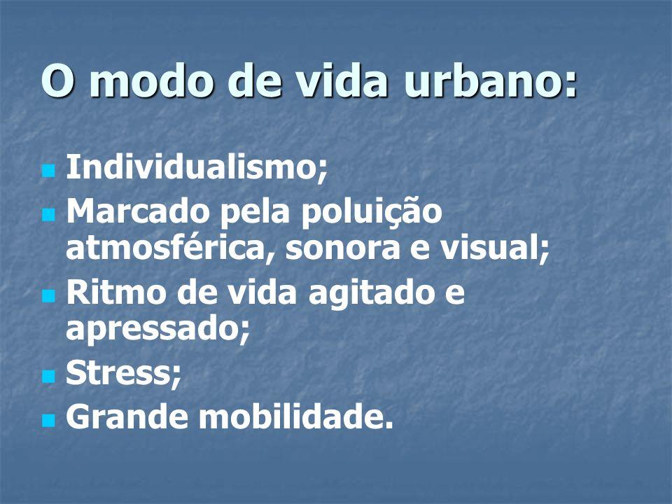 O modo de vida urbano: Individualismo; Marcado pela poluição atmosférica, sonora e visual; Ritmo de vida agitado e apressado; Stress; Grande mobilidad