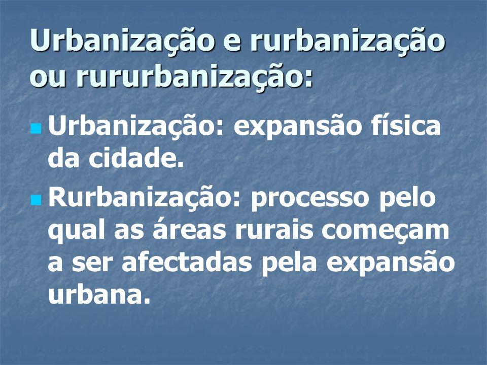 Urbanização e rurbanização ou rururbanização: Urbanização: expansão física da cidade. Rurbanização: processo pelo qual as áreas rurais começam a ser a