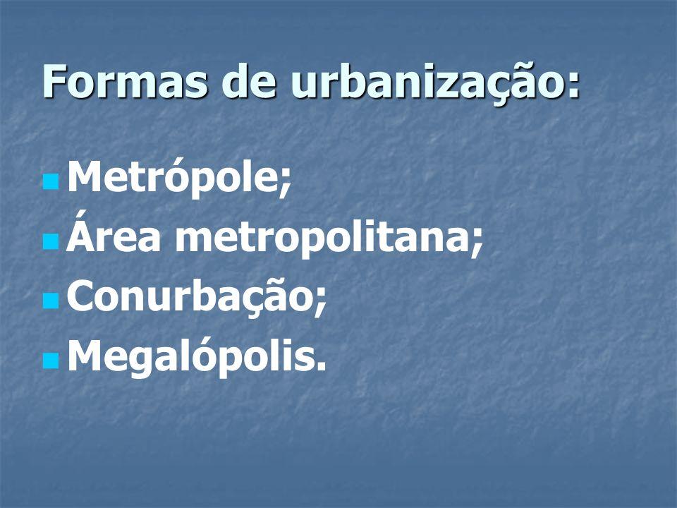 Formas de urbanização: Metrópole; Área metropolitana; Conurbação; Megalópolis.