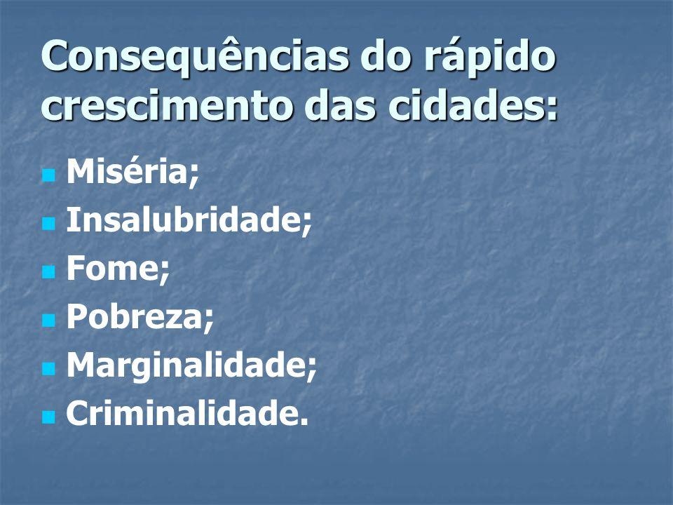 Consequências do rápido crescimento das cidades: Miséria; Insalubridade; Fome; Pobreza; Marginalidade; Criminalidade.
