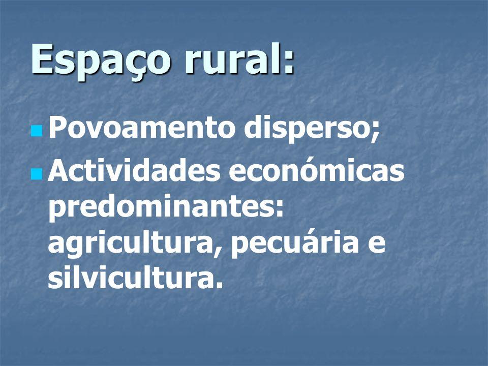 Tipos de povoamento rural: Concentrado ou agrupado: casas agrupadas à volta de um lugar principal (fonte, igreja, largo, praça, …); Disperso: casas espalhadas pelo espaço rural.