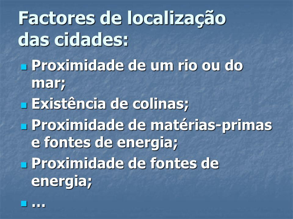Factores de localização das cidades: Proximidade de um rio ou do mar; Proximidade de um rio ou do mar; Existência de colinas; Existência de colinas; P