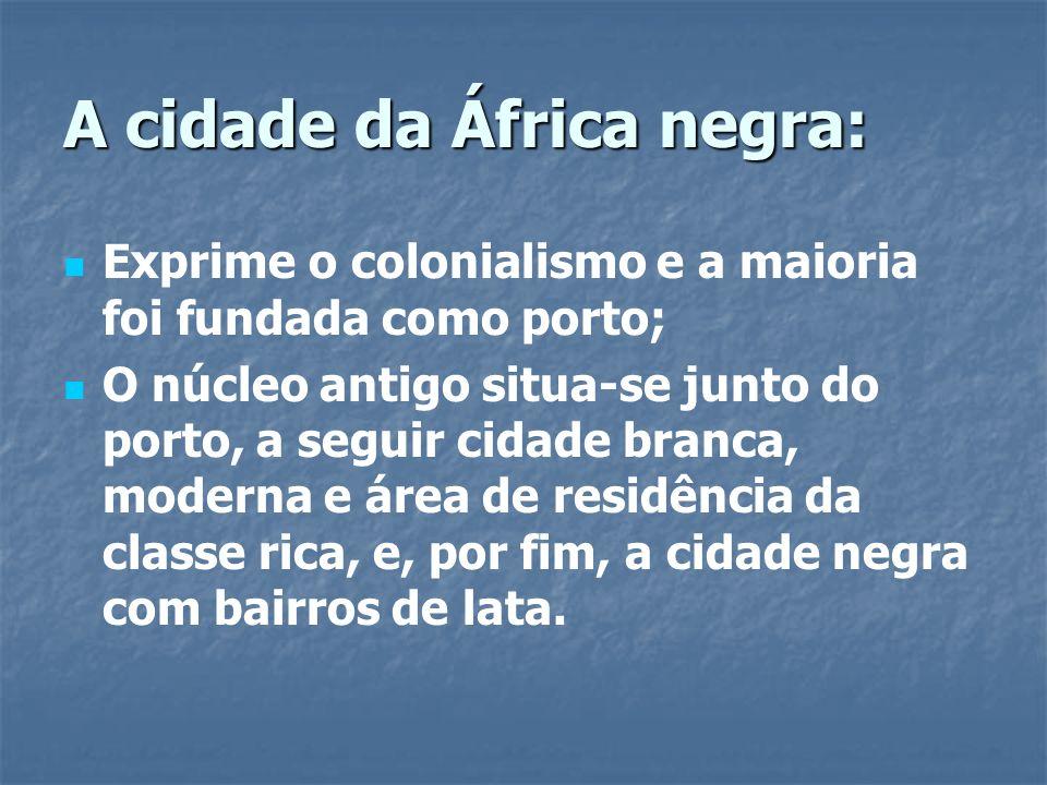 A cidade da África negra: Exprime o colonialismo e a maioria foi fundada como porto; O núcleo antigo situa-se junto do porto, a seguir cidade branca,