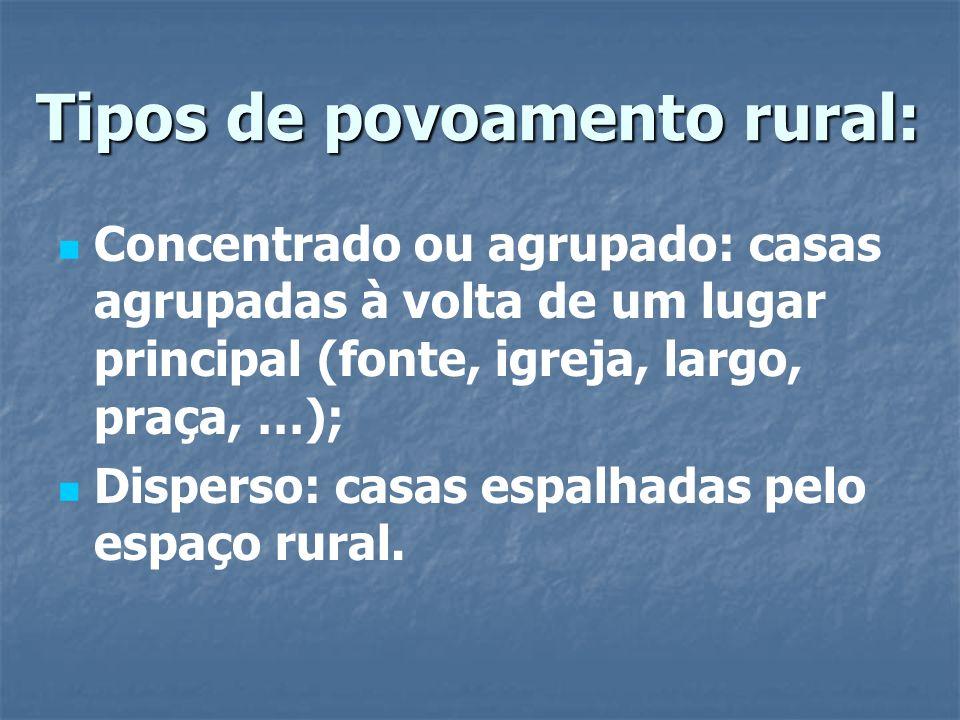 Tipos de povoamento rural: Concentrado ou agrupado: casas agrupadas à volta de um lugar principal (fonte, igreja, largo, praça, …); Disperso: casas es