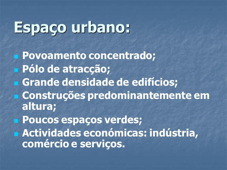 Espaço urbano: Povoamento concentrado; Pólo de atracção; Grande densidade de edifícios; Construções predominantemente em altura; Poucos espaços verdes