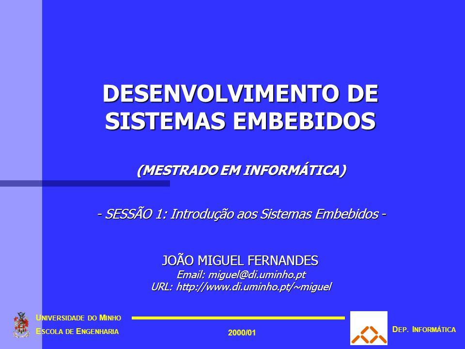 DESENVOLVIMENTO DE SISTEMAS EMBEBIDOS (MESTRADO EM INFORMÁTICA) - SESSÃO 1: Introdução aos Sistemas Embebidos - JOÃO MIGUEL FERNANDES Email: miguel@di.uminho.pt URL: http://www.di.uminho.pt/~miguel U NIVERSIDADE DO M INHO E SCOLA DE E NGENHARIA 2000/01 D EP.