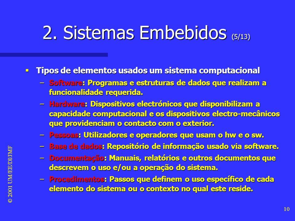 © 2001 UM/EE/DI/JMF 9 2. Sistemas Embebidos (4/13) Apesar do Turco ter um processador humano, vamos usá-lo para ilustrar as características essenciais
