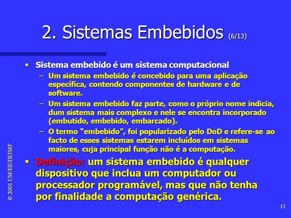 © 2001 UM/EE/DI/JMF 10 2. Sistemas Embebidos (5/13) Tipos de elementos usados um sistema computacional Tipos de elementos usados um sistema computacio