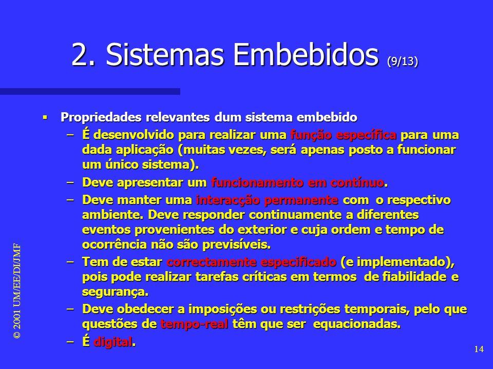 © 2001 UM/EE/DI/JMF 13 CPU mem entrada saída analógico sistema embebido 2. Sistemas Embebidos (8/13) Estrutura típica dum sistema embebido Estrutura t