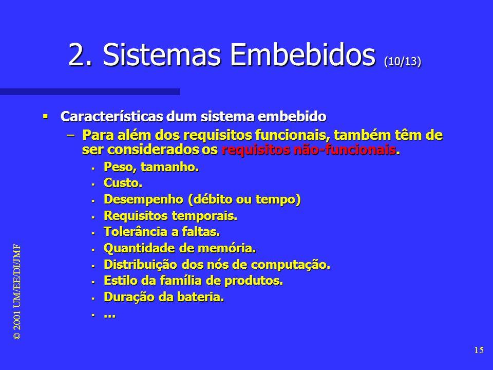 © 2001 UM/EE/DI/JMF 14 2. Sistemas Embebidos (9/13) Propriedades relevantes dum sistema embebido Propriedades relevantes dum sistema embebido –É desen