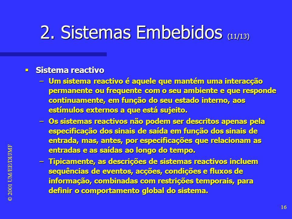 © 2001 UM/EE/DI/JMF 15 2. Sistemas Embebidos (10/13) Características dum sistema embebido Características dum sistema embebido –Para além dos requisit
