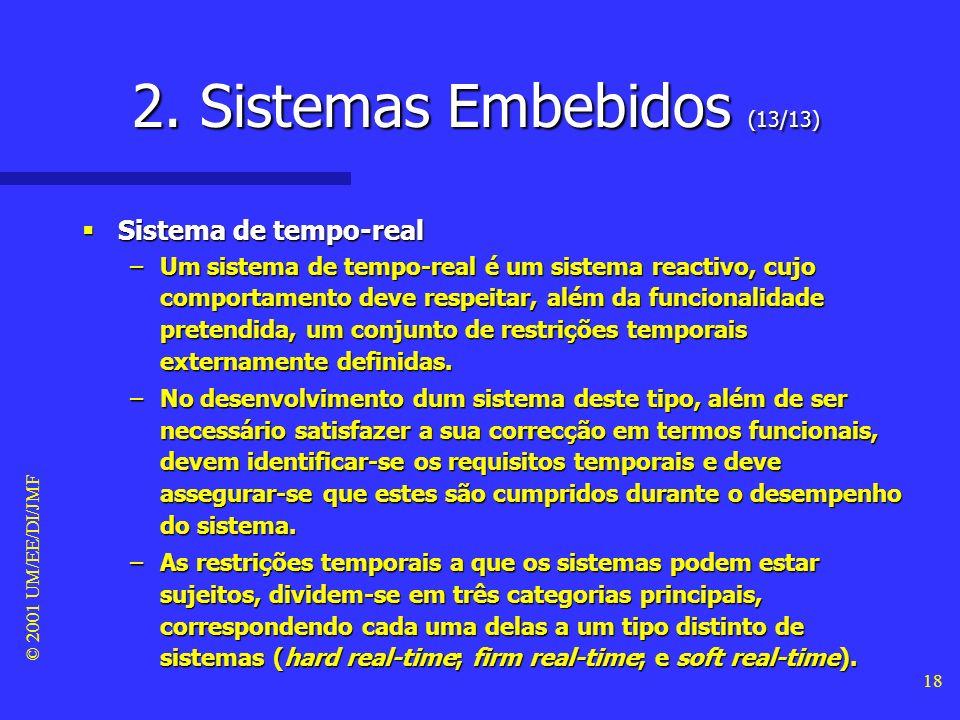 © 2001 UM/EE/DI/JMF 17 2. Sistemas Embebidos (12/13) Sistema de monitorização (de controlo) Sistema de monitorização (de controlo) –Os sistemas de mon