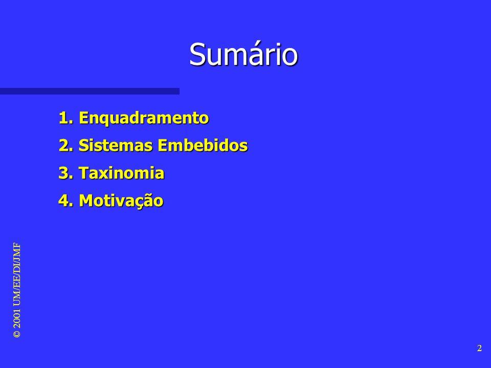 © 2001 UM/EE/DI/JMF 2 Sumário 1. Enquadramento 2. Sistemas Embebidos 3. Taxinomia 4. Motivação