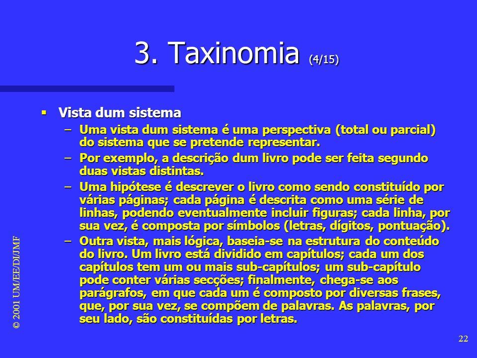 © 2001 UM/EE/DI/JMF 21 3. Taxinomia (3/15) Sistema Sistema –Um sistema pode ser definido como uma colecção de componentes inter-relacionados que actua