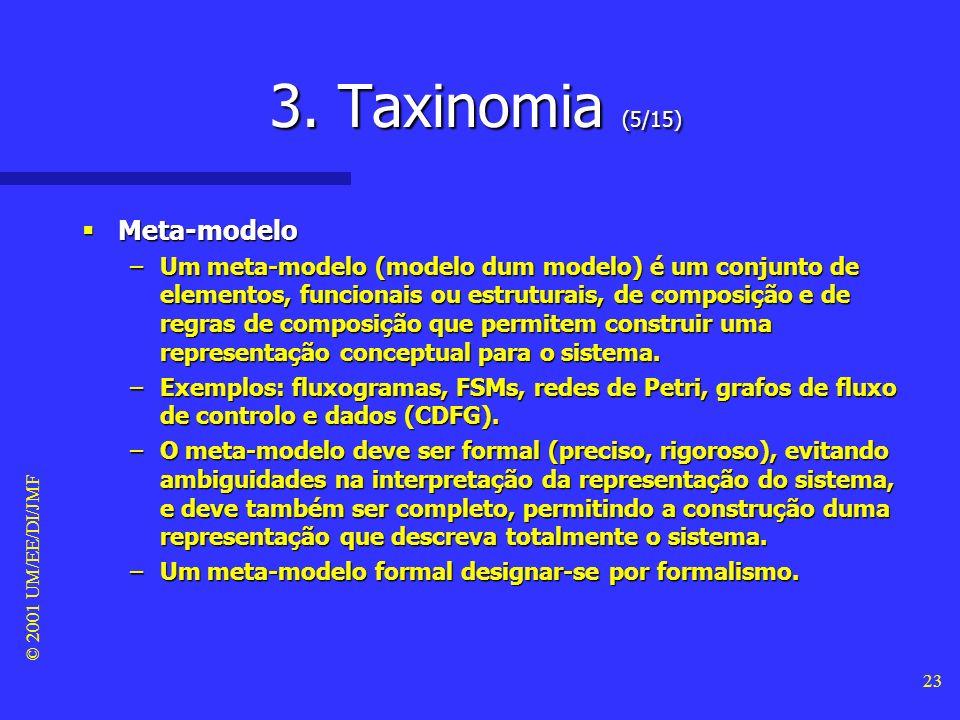 © 2001 UM/EE/DI/JMF 22 3. Taxinomia (4/15) Vista dum sistema Vista dum sistema –Uma vista dum sistema é uma perspectiva (total ou parcial) do sistema