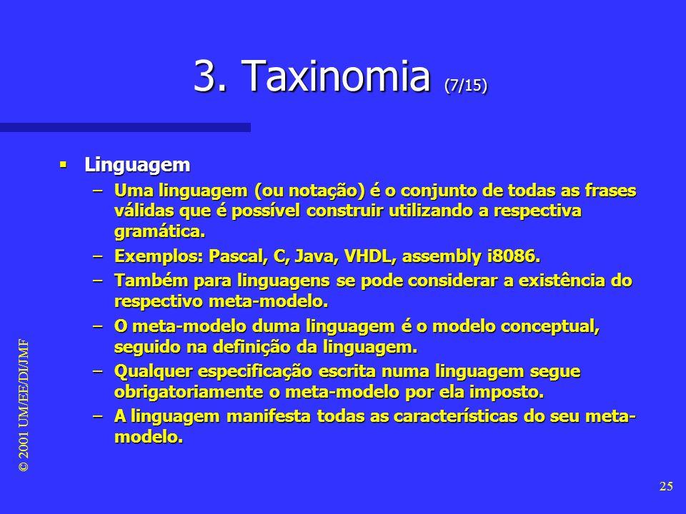 © 2001 UM/EE/DI/JMF 24 3. Taxinomia (6/15) Modelo Modelo –Um modelo é uma representação conceptual dum sistema, à luz dum determinado meta-modelo. –Ex