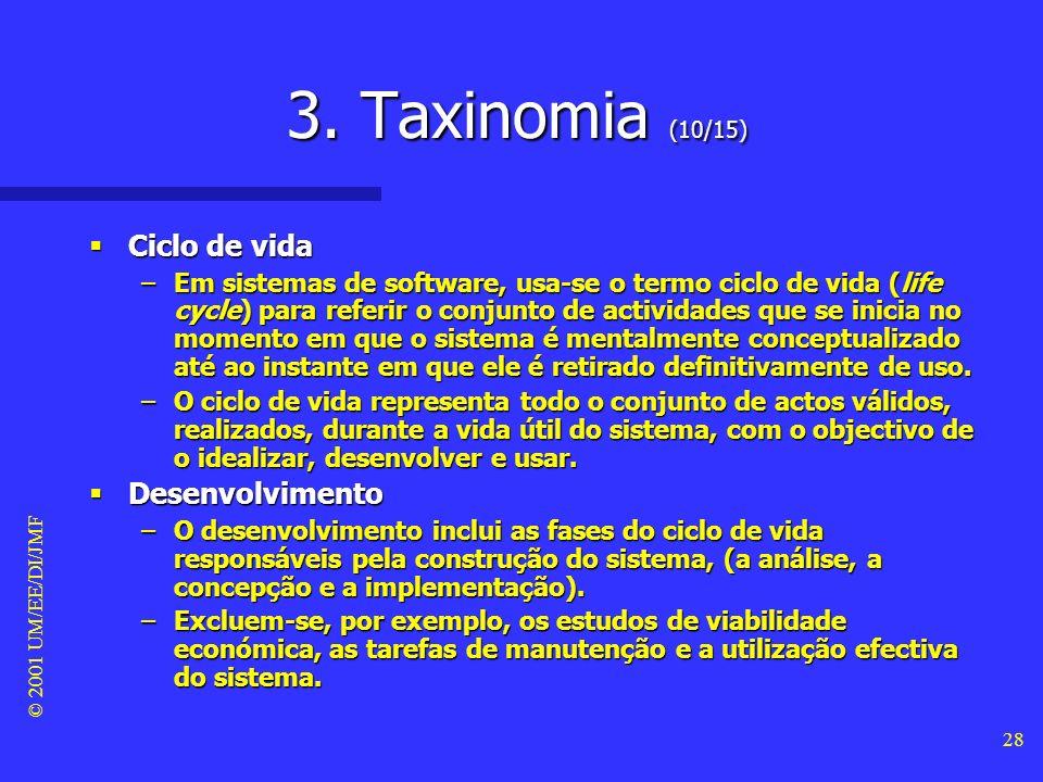 © 2001 UM/EE/DI/JMF 27 3. Taxinomia (9/15) As fases do ciclo de vida dum sistema As fases do ciclo de vida dum sistema