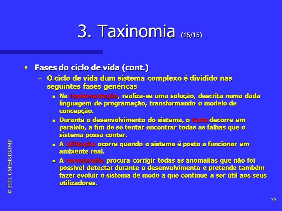 © 2001 UM/EE/DI/JMF 32 3. Taxinomia (14/15) Fases do ciclo de vida Fases do ciclo de vida –Uma fase é uma abstracção, ao longo do tempo, dum conjunto