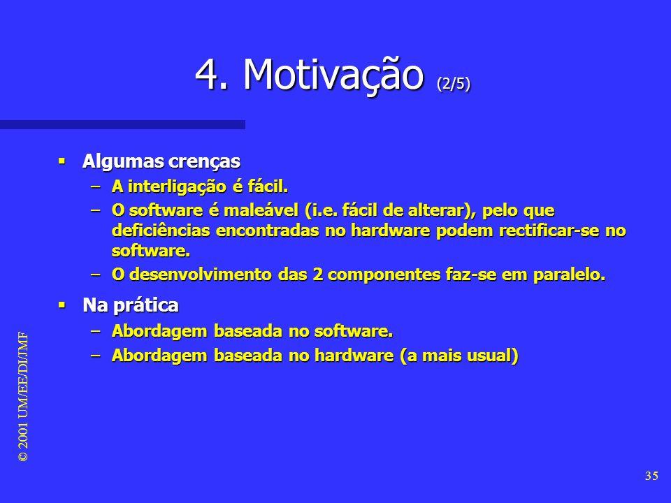 © 2001 UM/EE/DI/JMF 34 4. Motivação (1/5) O modelo de processo tradicional O modelo de processo tradicional