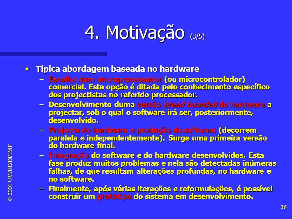 © 2001 UM/EE/DI/JMF 35 4. Motivação (2/5) Algumas crenças Algumas crenças –A interligação é fácil. –O software é maleável (i.e. fácil de alterar), pel