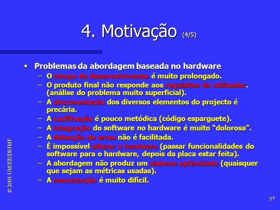 © 2001 UM/EE/DI/JMF 36 4. Motivação (3/5) Típica abordagem baseada no hardware Típica abordagem baseada no hardware –Escolha dum microprocessador (ou