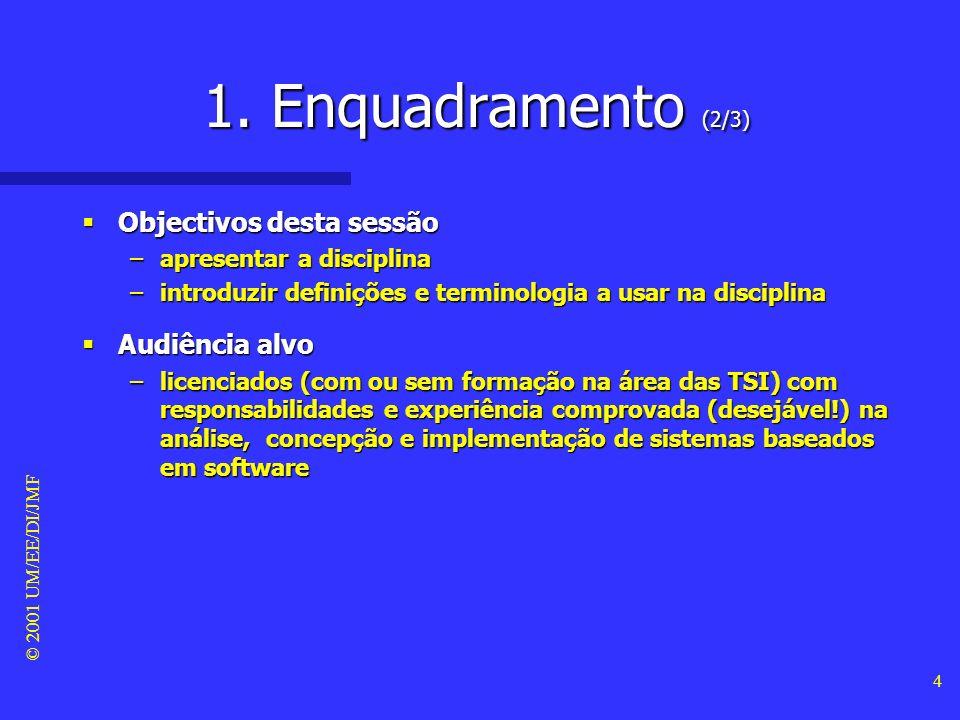 © 2001 UM/EE/DI/JMF 3 1. Enquadramento (1/3) Apresentação pessoal Apresentação pessoal –docente do DI/EE/UM –coordenador C&T do IDITE-Minho –membro do