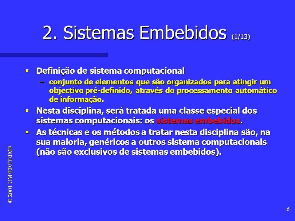 © 2001 UM/EE/DI/JMF 5 1. Enquadramento (3/3) Bibliografia recomendada Bibliografia recomendada –Wolf W. (2001). Computers as Components: Principles of