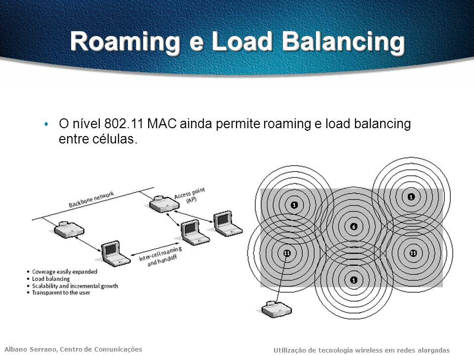 Albano Serrano, Centro de Comunicações Utilização de tecnologia wireless em redes alargadas Roaming e Load Balancing O nível 802.11 MAC ainda permite