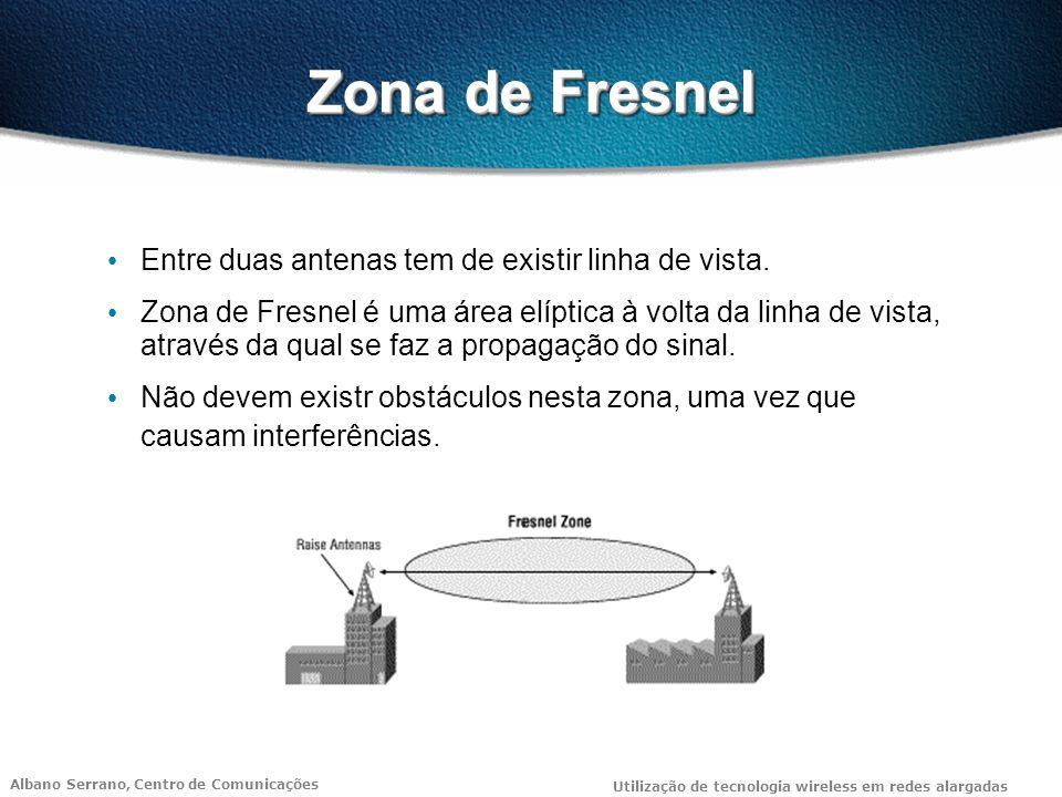 Albano Serrano, Centro de Comunicações Utilização de tecnologia wireless em redes alargadas Zona de Fresnel Entre duas antenas tem de existir linha de vista.