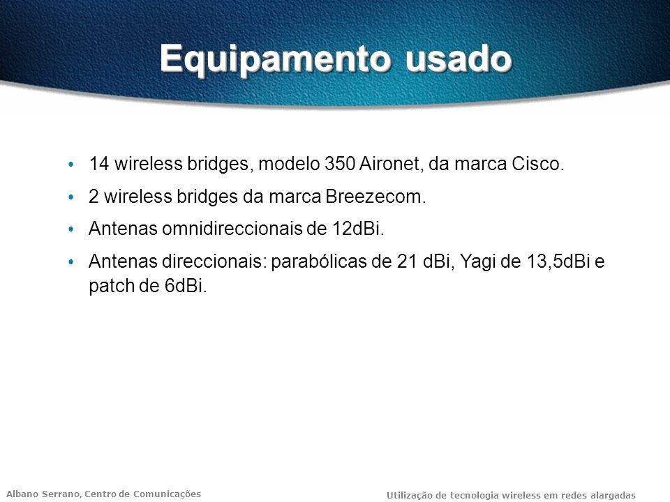 Albano Serrano, Centro de Comunicações Utilização de tecnologia wireless em redes alargadas Equipamento usado 14 wireless bridges, modelo 350 Aironet, da marca Cisco.