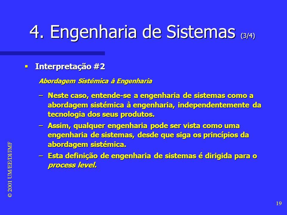 © 2001 UM/EE/DI/JMF 18 4. Engenharia de Sistemas (2/4) Interpretação #1 Interpretação #1 Engenharia dos Sistemas –Neste caso, entende-se a engenharia